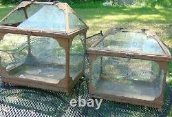 Vintage Antique Arts and Crafts Style Metal Glass Terrarium Painted Brown #2