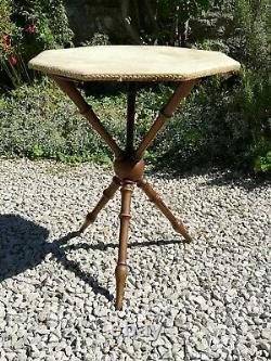 Vintage Antique Gypsy Table Boho Bobbin Style Arts and Crafts Side Table