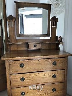 Vintage Arts And Crafts Oak Dressing Table