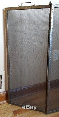Vintage Arts and Crafts Hammered Finish Folding Fireplace Hearth Screen