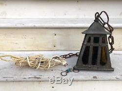 Vintage Arts and Crafts Heavy Cast Iron Porch Light withStained Glass Panels