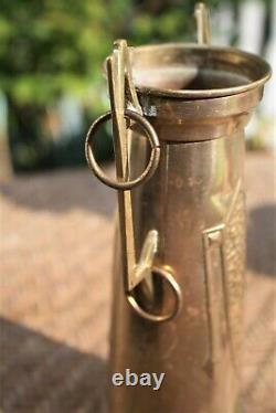 Vintage Arts and Crafts Mission Style Brass Vase Loving Cup with Handle Antique