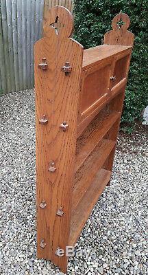 Vintage Arts and Crafts Oak Bookcase Book Shelves Shelf Cupboard