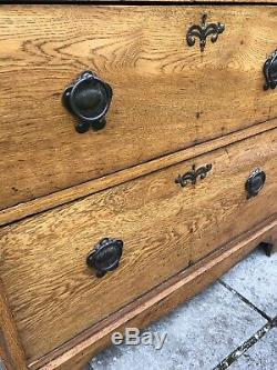 Vintage Arts and Crafts Solid Oak Dressing Chest of Drawers