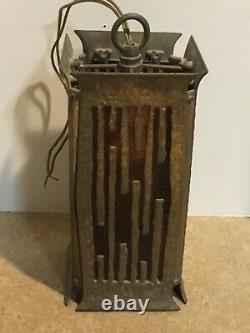Vintage Bronze Arts and Crafts Mission Hanging Stained Glass Lamp Light Leviton