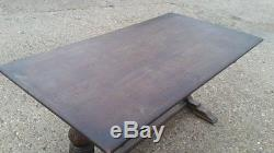 Vintage Large Arts And Crafts 6 Seater Carved Wooden Dining Table- Oak