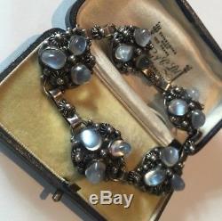 Vintage Moonstone Bracelet, Arts and crafts Moonstone bracelet, Sterling Silver