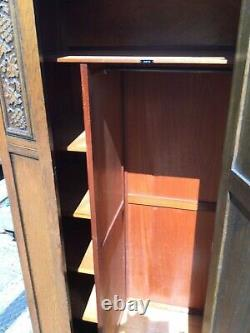 Vintage Wardrobe Arts and Crafts Style Grape Carved detail authentic