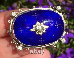 Vintage jewellery rare signed George Hunt 1930 Enamel arts & crafts brooch