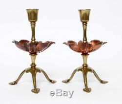 W A S Benson Arts and Crafts Copper Brass Signed Candlesticks Aesthetic W. A. S