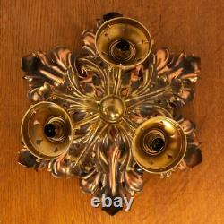 WAS Benson Arts and Crafts Brass & Copper Ceiling Light/Chandelier