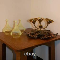 WAS Benson Arts and Crafts Brass/Copper Chandelier/Ceiling Light