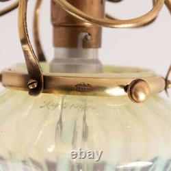 WAS Benson Arts and Crafts Ceiling Light with Powell Vaseline Glass Shade