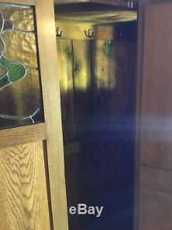 Wardrobe Oak Arts And Crafts Bevelled Mirror Stained Glass Original Handles