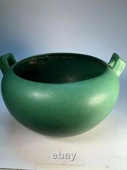 Weller Matte Green Jardiniere 2 Handles Old Arts and Crafts Pottery Vase