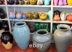 Weller Pottery Vase Nile Vintage Large Arts & Crafts Green Drip Flambe 12