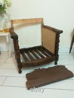Wylie & Lochhead Carved Oak Arts And Crafts Fireside Chair For Restoration
